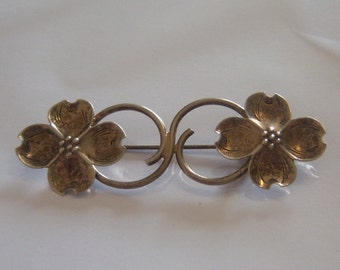 Dogwood Brooch In Sterling Silver. Signed Dogwood Pin.