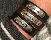 Personalized stackable skinny leather cuff bracelet - custom stamped word bracelet - inspirational jewelry - pep talk - Love Squared Designs
