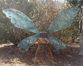 OOAK  Fantasy  Wings Turquoise Animal print Large Ready to Ship
