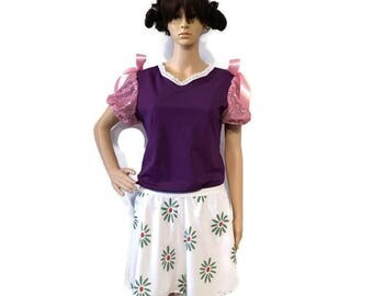 Haunted Mansion Tight Rope Umbrella Girl costume- Shirt and flower skirt