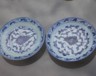 19th century antique  porcelain plat hand painted Blue flower floral signed antique ceramic porcelain leaf leaves chinese blue
