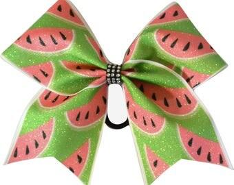 Watermelon Green Cheer Bow