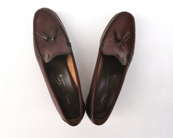 Vintage Eitenne Aigner Loafers, 1970s Slip Ons Maroon Tassels, Burgundy Loafers Low Heel, EA Leather Shoes Preppy Footwear Oxblood