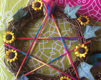 Sunflower Pentacle Wreath