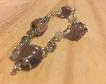 Fluorite Witch Ball Bracelet Wire-Wrapped