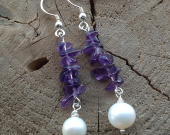 Purple Amethyst Earrings,  Drop Earrings, Freshwater Pearl, February Birthstone, Natural Pearl, Sterling Silver, Gift for her