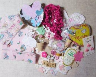 LOT Hand Frayed Ribbon Bunny Robbit Inspiration Kit - JOY DIY Buttons Cottage Roses Brighton Tin Bobbins Hearts Paper Craft - Quilt 702