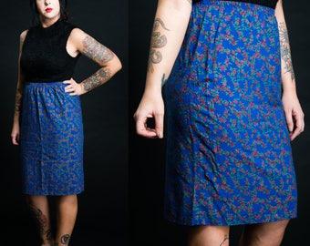 Vintage 80' Rayon Royal Blue Floral Rose Print Midi Skirt / Size M-XL
