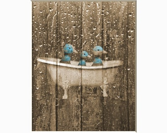Rustic Country Vintage Bathroom Wall Decor Ducks In Bathtub Rustic Brown Blue Home Decor Matted