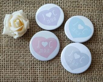 Bulk OFFER - Quirky Pastel Love Heart Wedding Badges / Wedding favours