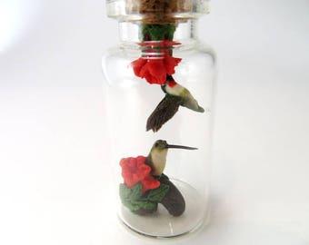 Hummingbird Gift Miniature Sculpture Bird Lover Gift Hummingbird Art Desk Decor Animal Sculpture Bird Flower Hummingbird Diorama Miniature