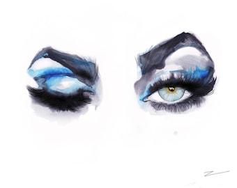 Wink - print from original watercolor illustration by Kristen Baker