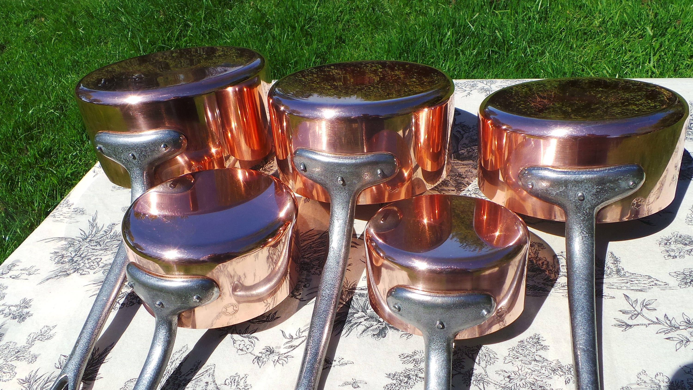 Copper Pans Fabrication Francaise Set Of Five Vintage