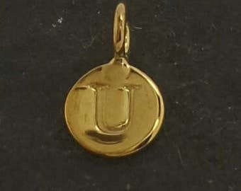 Gold on sterling silver round letter charm U, gold initial U charm,  stamped gold letter charm  , U gold vermeil initial charm
