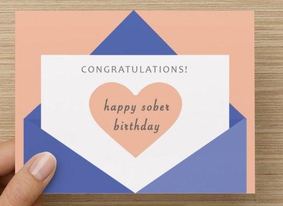 Sober Anniversary Card Happy Sober Birthday Envelope