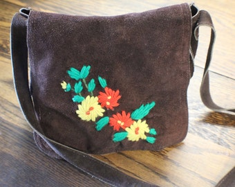 1970s Brown Suede Purse, Retro Flower Power Purse