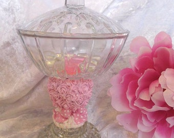 Pink White SHABBY Crystal CHIC Roses PEDESTAL Covered Candy DIsh Stand Holidays