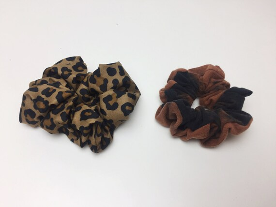 Hair Scrunchies 2 Handmade 90's Inspired Hair Scrunchie Pack Leopard & Tie Dye Bleach Hair Ties - Funky Hair Accessory Two Giant Scrunchies