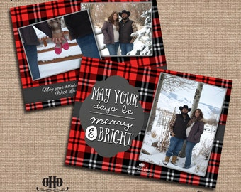 CUSTOM Christmas/Holiday Card - Rustic Red and Black Plaid Cozy Christmas with 3 Pictures