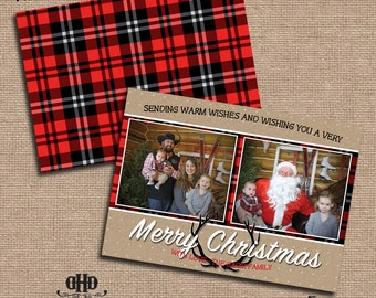 CUSTOM Christmas/Holiday Card - Rustic Kraft, Plaid and Antler Christmas