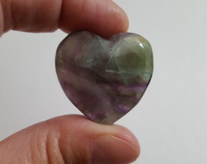Rainbow Fluorite Heart ~ One 30x30mm Reiki infused gemstone heart (FLH09)