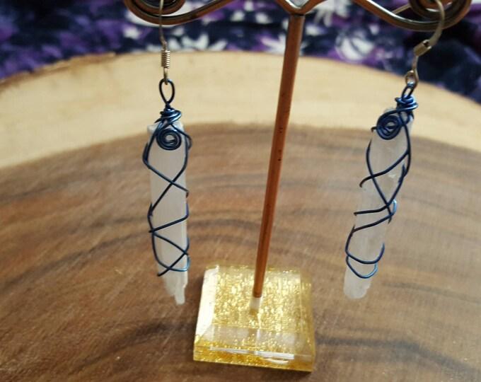 Selenite wire wrapped earrings ~ 1 pair Reiki infused earrings (SE07)