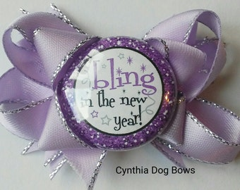 """New Year's Dog Bow- """"BLING in the New Year"""" Boutique Bow in Purple & Silver"""