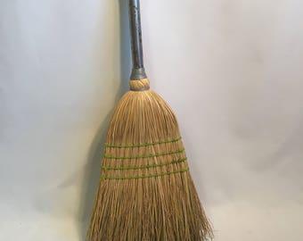 Vintage Short Handle Broom, Retro Shop Broom, Display Broom, Aluminum Handle Vintage Broom