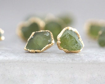 peridot studs / raw peridot earrings / green stone earrings / raw stone earrings / mineral earrings / peridot jewelry / stocking stuffer