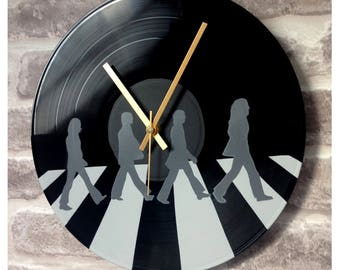 "Vinyl Record Wall Clock 12"" - The Beatles Abbey Road Black Gloss Stencil Handmade"