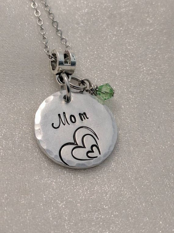Mom Necklace - Heart Jewelry - Metal Stamped Jewelry - Mother's Day Gifts - Birthstone Jewelry - Gift for Mom - Nestled Heart Jewelry - Gift