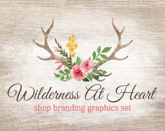 Rose Antlers Shop Branding Banners, Avatar Icons, Business Card, Logo Label + More - 13 Premade Graphics Files - WILDERNESS AT HEART