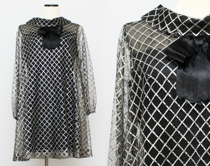 60s Metallic Mod Cocktail Dress - Vintage 1960s Black and Silver Union Label Party Dress