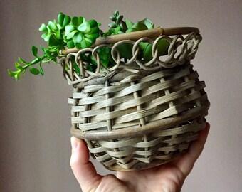 Aged Wicker Basket with Loop Detail