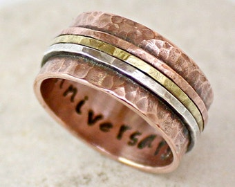 Rose Gold Ring - Personalized Secret Message Band - Made of Copper - Womens Mens Copper Ring - Handmade - Hammered - Engagement Ring