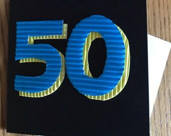 Happy Birthday age card 50th
