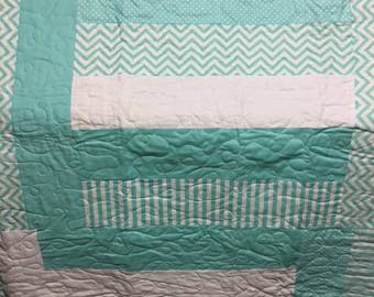 Teal and White Striped Lap Quilt