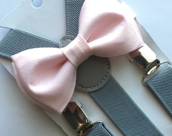 Light Pink Bow Tie and Suspenders Set/ Two Piece Set. Blush Bow Tie. Kids/Adults