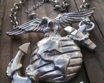 Usmc ega pendant etsy custom usmc eagle globe and anchor medallion aloadofball Images
