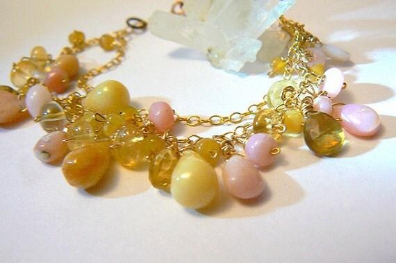 Yellow pink Peruvian opal bracelet- Citrine opal gemstone bracelet-  Women opal jewelry- Gold filled stone bracelet- Women Valentine's gift
