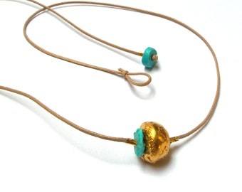 Turquoise Pendant - Gold Pendant - 24 K Gold Pendant - Gold necklace - Free Shipping!!!