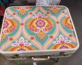 Vintage Suitcase Table,Upcycled,recycled,vintage stamps