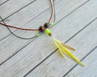 Yellow parakeet feathers tribal pendant necklace brown leather green yellow glass beads ladies jewelery handmade jewelry unique boho fashion