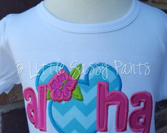 Aloha Minnie Mouse Shirt- Polynesian Applique Shirt- Embroidered Shirt- Custom- Minnie Shirt- Mouse Head- Minnie Head- Aulani- Hawaiian-pink