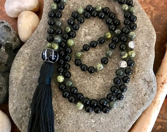 Onyx black and silver Zen Mala, Yoga, Meditation, Bohemian, 108 beads