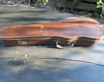 Antique Violin Case - Wooden Suitcase Travel Bag - Jewellery Box  - Hand Made Wooden Violin Case With Leather Handle