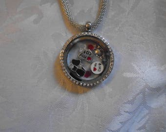 Floating Memory Locket Cat and Mouse Theme with Chain
