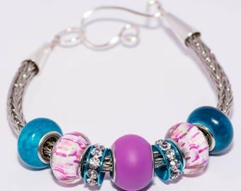 Viking knit multi colored bracelet