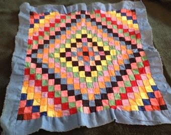 Antique quilt square,  hand sewn tiny squares