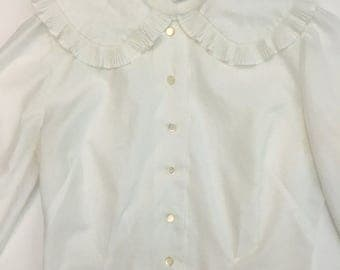 80s White Blouse with Ruffled Collar